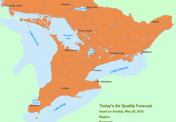 Ontario's Smog Advisory:Expanded to Include City of Ottawa & Vicinity May 20, 2012