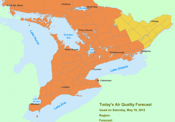 Smog Advisory: Southern, Central, Northern, & Parts of Eastern Ontario May 19, 2012