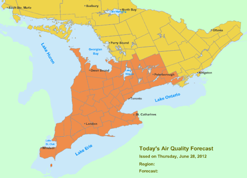 Ontario's Smog Alert: Expanded to Include City of Toronto & Parts of Central Ontario June 28, 2012