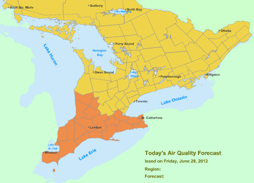 Smog Advisory Partially Lifted: Parts of Southwestern Ontario June 29, 2012