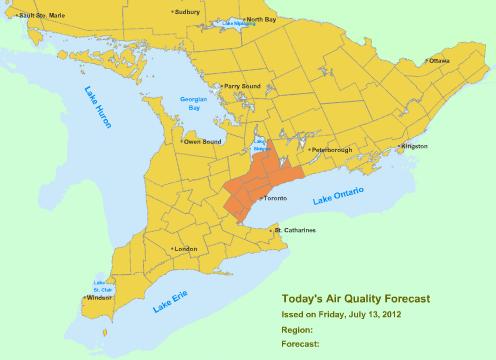 Smog Alert: Toronto, Halton-Peel & York-Durham July 13, 2012