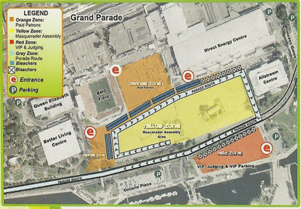 Above, Map of Scotiabank Caribbean Carnival Toronto Grand Parade Route