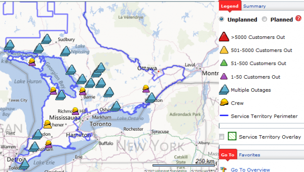 Hydro One Storm Centre: Map of Power Outages in Ontario. Last Updated: Oct 31, 3:13 AM Information is being updated every 15 minutes.