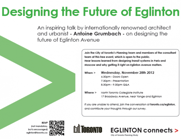 "'Eglinton Connects' Needs You: Free Public Talk on ""Designing the Future of Eglinton"" Nov.28, 2012"