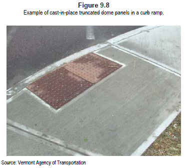 Figure 9.8 Example of cast-in-place truncated dome panels in a curb ramp.