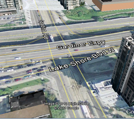 Above, Intersection of Spadina Avenue and Lake Shore Boulevard in Toronto, Ontario, Canada
