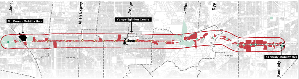 Eglinton Crosstown Light Rail Transit (LRT) line map