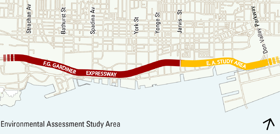 City of Toronto's map: Environmental Study Area of Gardiner Expressway