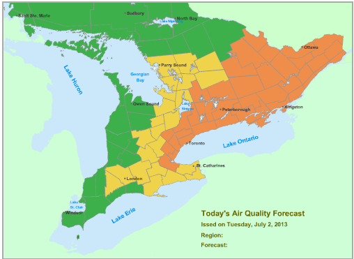 Ontario's Ministry of the Environment's map: Air Quality Forecast issued on  July 2, 2013