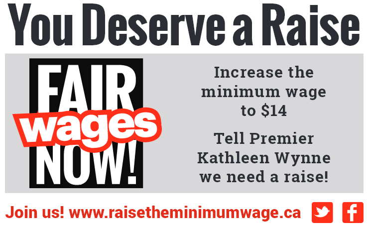 Ontario-Wide Campaign to Raise the Minimum Wage to $14