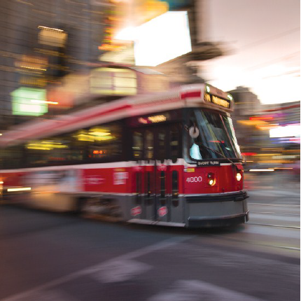 Above, TTC's copy of the winning photo submitted by Mr. Fang Su of Toronto: TTC streetcar on the 505 Dundas route, near Dundas Square.