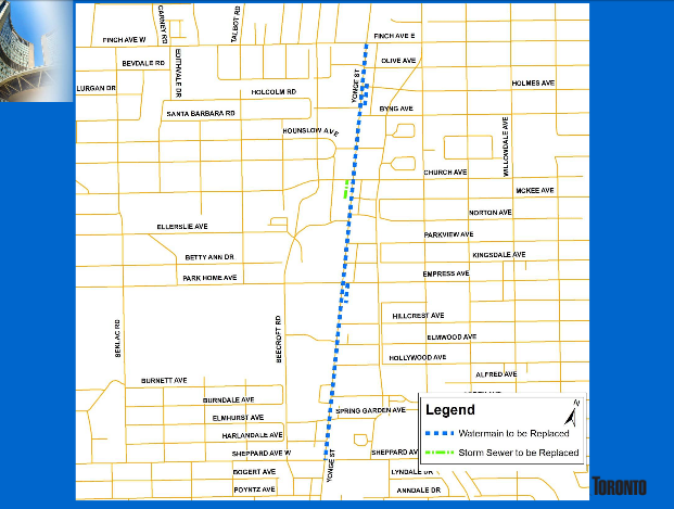 City of Toronto's image: Construction to replace Yonge Street watermain begins August 23, 2013.