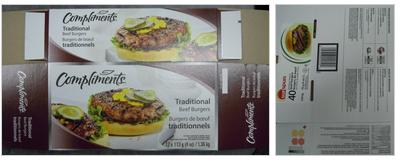 Above, photos left to right: Compliments Traditional Beef Burgers - 12 x 113 g (4 oz) / 1.36 kg; Sunspun Bearpaw-shaped Beef Burgers - 4.54 kg. // Ci-dessus, les photos de gauche à droite: Compliments Burgers de bœuf traditionnels - 12 x 113 g (4 oz) / 1,36 kg; Sunspun Burgers de bœuf en forme de patte d'ours - 4,54 kg.