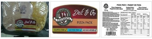 Grimm's Fine Foods brand Pizza Pack / « paquets de pizza » (emballages de viandes froides) de marque Grimm's Fine Foods.