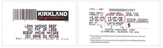 Kirkland Signature brand Lean Ground Beef. / boeuf haché maigre de marque Kirkland Signature.