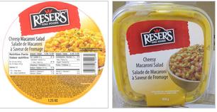 Cheesy Macaroni Salad-1.25 kg (left); Cheesy Macaroni Salad-454 g (right) / Salade de macaroni à saveur de fromage- 1,25 kg (à gauche); Salade de macaroni à saveur de fromage-454 g (à droite).