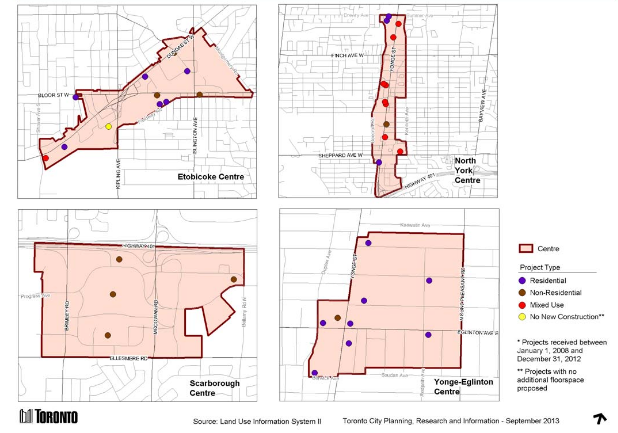 Map 4: Development Projects* in Centres. How Does the City Grow? – September 2013 bulletin.