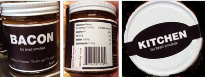 Kitchen By Brad Smoliak brand Bacon spread (left to right): front, back and lid top. / tartinade au Bacon de marque Kitchen by Brad Smoliak: (gauche à droit): devant, arrière, couvercle.
