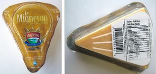 Left to right: Famille Migneron brand Le Migneron de Charlevoix cheese wedge – 140 g; Famille Migneron brand Le Migneron de Charlevoix cheese wedge – Nutrition Facts / de gauche à droite: Le Migneron de Charlevoix fromage de marque Famille Migneron – 140 g; Le Migneron de Charlevoix fromage de marque Famille Migneron – Valeur Nutritive