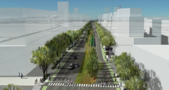 City of Toronto's visualization of the future land use and public realm for Eglinton Avenue between Jane Street and just east of Kennedy Road (Kennedy Subway Station).