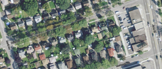 Google satellite image of John Bower Lane, Toronto.