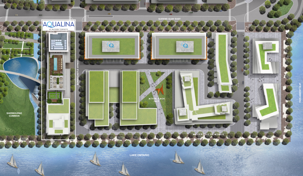 Hines' map of Aqualina at Bayside (left), and office buildings, called Queens Quay Place I and II (centre; designated as Q). The street between Aqualina at Bayside and Queens Quay Place is called Bonnycastle Street.