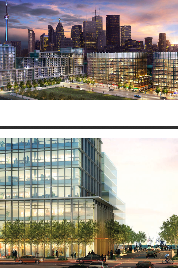 Above, renderings of Queens Quay Place I and II (depicted on the right-hand side in the top image), which are two nine-story office buildings containing 215,000 square feet each. The buildings share a landscaped plaza and contain retail at the ground level, underground parking and easy access to public transportation. The park adjacent to Queens Quay Place is Aitken Place Park.